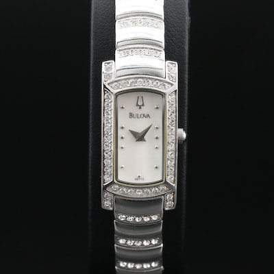Bulova Crystal and Mother of Pearl Quartz Wristwatch