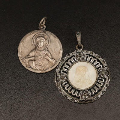 Sterling Silver Catholic Medallions Including Mother of Pearl Mary Medallion