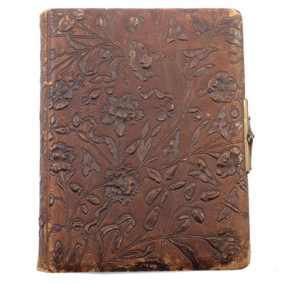 Floral Embossed Leather Album with Albumen Portraits, Mid to Late 19th Century