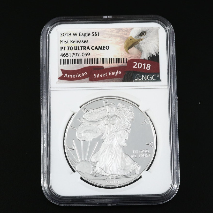 NGC Graded PF70 Ultra Cameo 2018-W American Silver Eagle Proof Bullion Coin