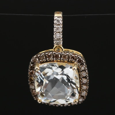 Sterling Topaz and Diamond Pendant