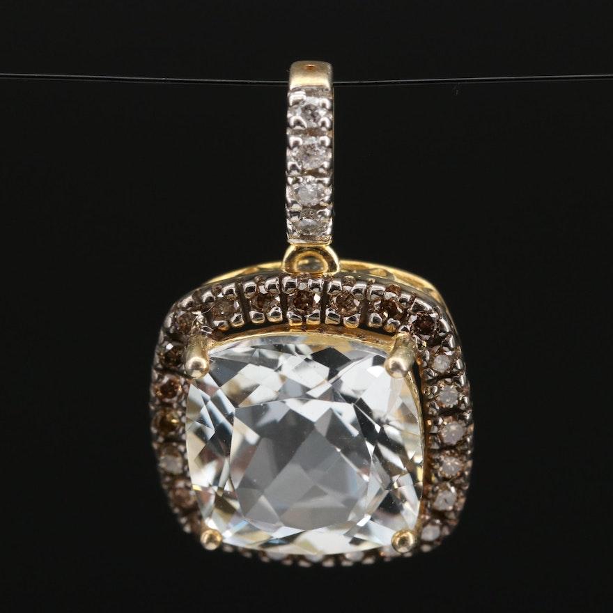 Sterling Topaz and Diamond Pendant