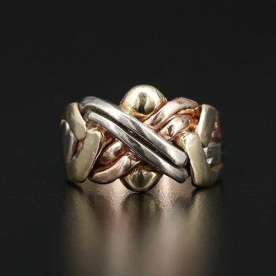 14K Tri-Color Gold Puzzle Ring