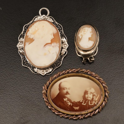 Vintage Sterling and 835 Silver Cameos Including Antique Photo Brooch