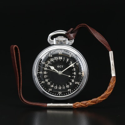 """WW II Elgin """"AN-5740 Navigational"""" GCT Pocket Watch with Leather Fob"""