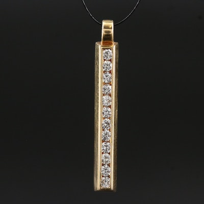 14K Diamond Channel Bar Pendant