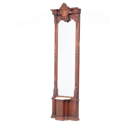 Victorian Walnut and Burl Walnut Gilt-Incised and White Marble Pier Mirror