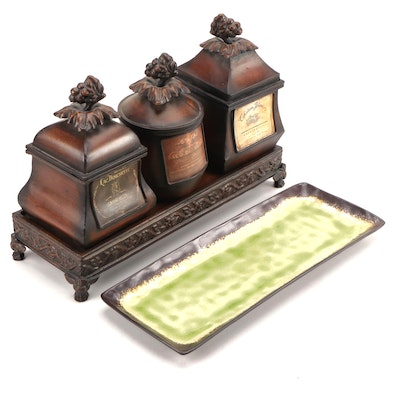 Pier 1 Imports Tray with CBK Canisters with Pseudo French Wine Labels