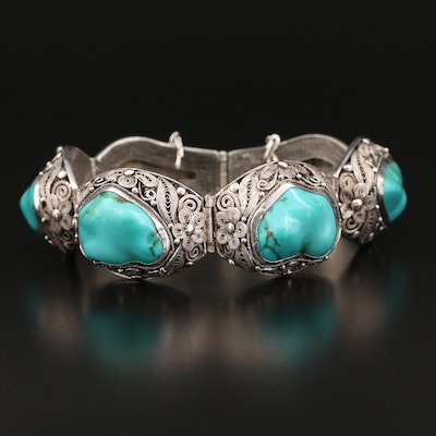 Sterling Silver Turquoise Cannetille Bracelet