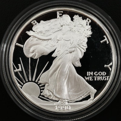1990-S American Silver Eagle Dollar Proof Bullion Coin