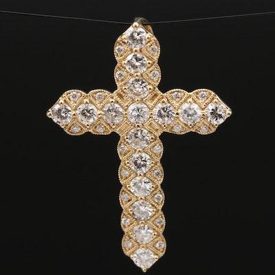 14K 1.07 CTW Diamond Cross Pendant