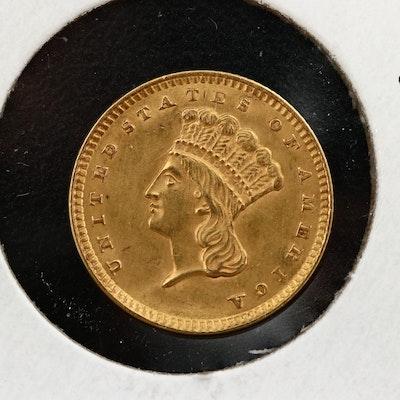 1856 Indian Princess Head Type III Gold Dollar
