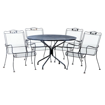 Metal and Mesh 5-Piece Patio Dining Set, Late 20th Century