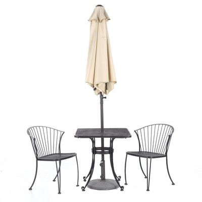 Metal and Mesh 3-Piece Dinette Set with Umbrella and Stand