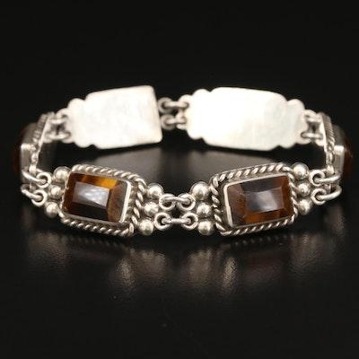 Mexican Sterling Silver Tiger's Eye Link Bracelet