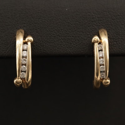 14K Diamond J Hoop Earrings
