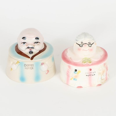 """Japanese """"Chopper Hopper"""" His and Hers Denture Containers, Mid-20th Century"""