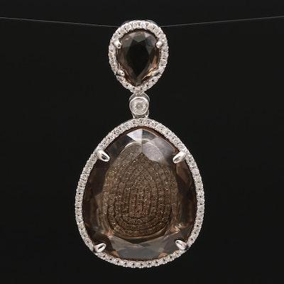 14K Smoky Quartz and Diamond Pendant