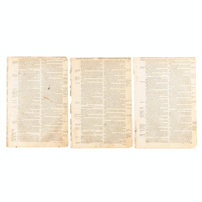 "Three Original Leaves from 1629 ""Cambridge King James Bible"""