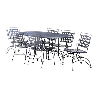 Metal and Mesh 7-Piece Patio Dining Set, Late 20th Century