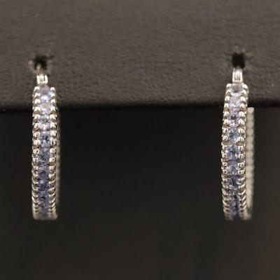 10K Tanzanite Inside-Out Hoop Earrings