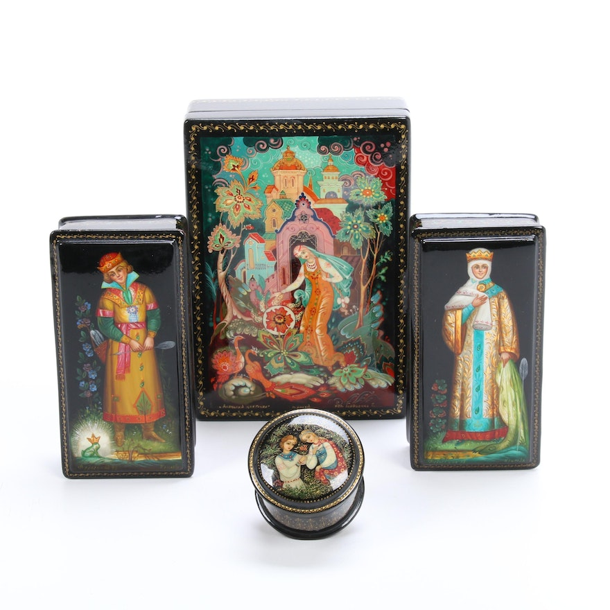 Russian Fedoskino Pegockuho Fairy Tale and Other Lacquer Boxes