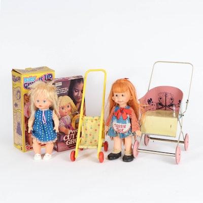 """Mattel """"Tessie Talk"""" Ventroliquist """"Baby Grows Up"""" Dolls with Strollers, Vintage"""