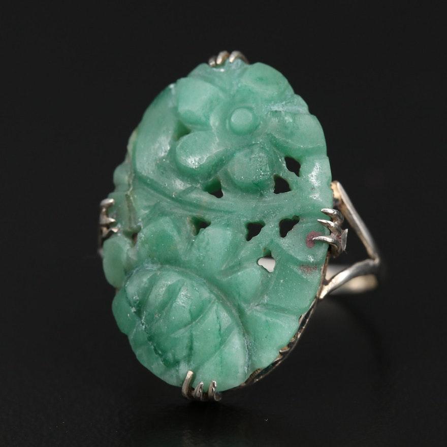 Vintage 800 Silver Carved Quartz Flower Ring