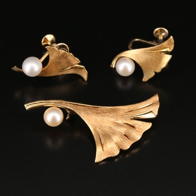 Mikimoto 14K Brooch and Screw Back Earring Set