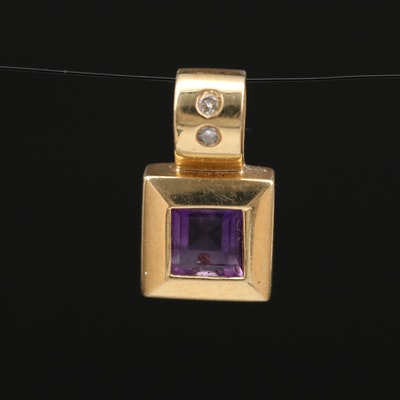 14K Amethyst and Diamond Square Pendant
