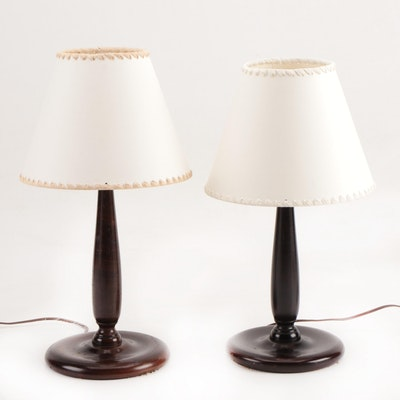 Near Pair of Stained Wood Candlestick-Form Table Lamps, 20th Century