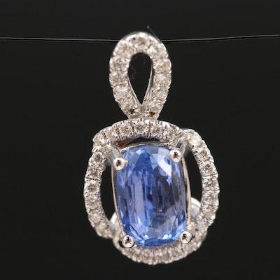 14K 3.83 CT Sapphire and Diamond Pendant