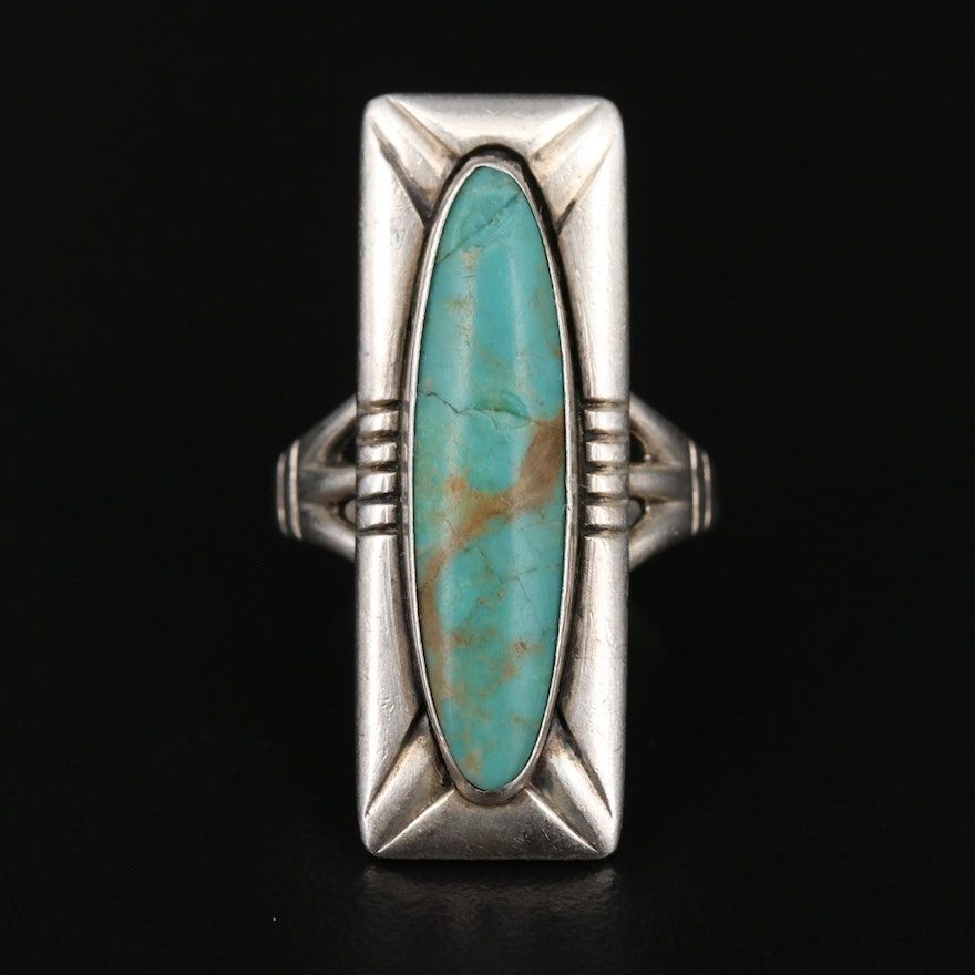 Bell Trading Post Sterling Silver Turquoise Bar Ring