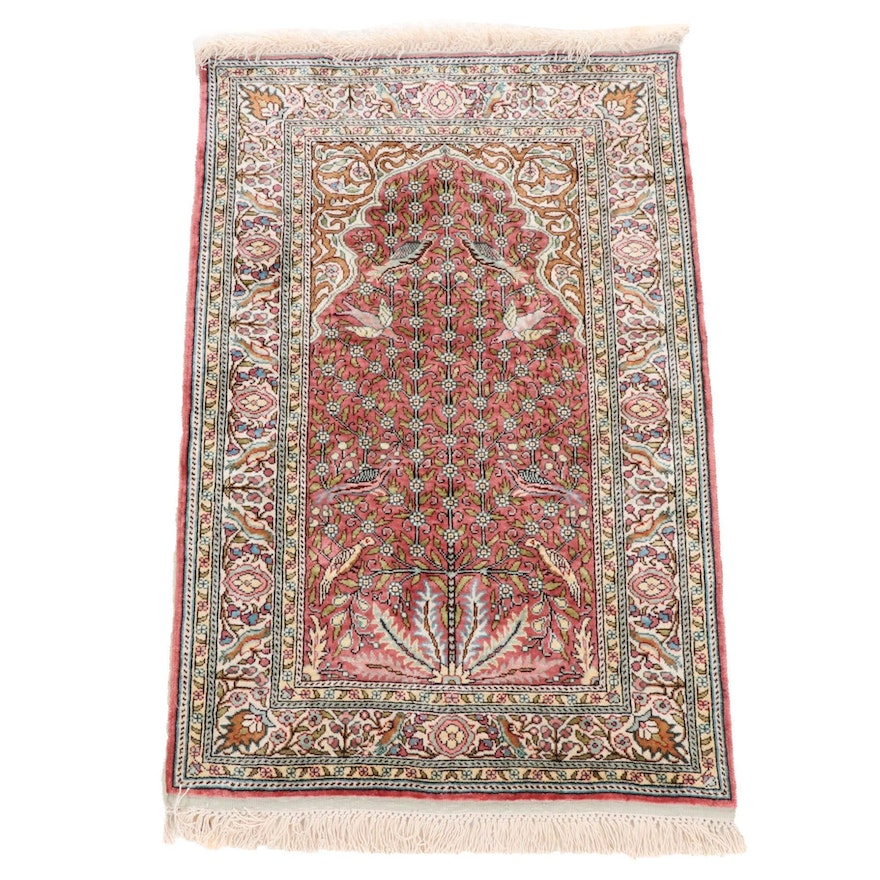 2'6 x 3'6 Hand-Knotted Kayseri Silk Prayer Rug