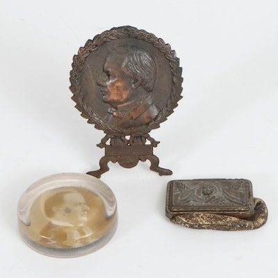 President William McKinley Coin Purse, Paperweight and Decorative Brass Stand