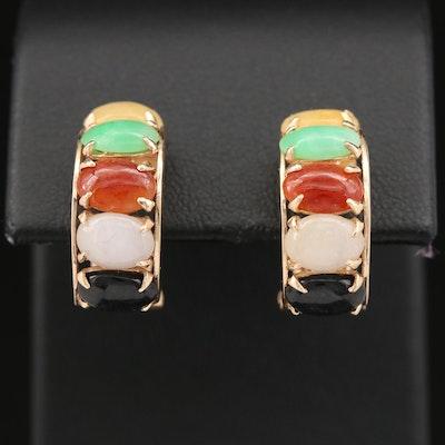 14K Black Onyx and Jadeite Earrings