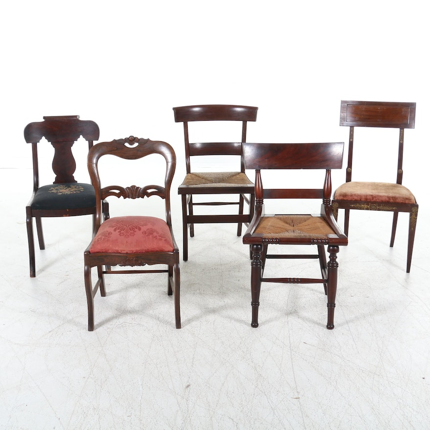 Collection of Victorian Mahogany Chairs, Late 19th to Early 20th Century