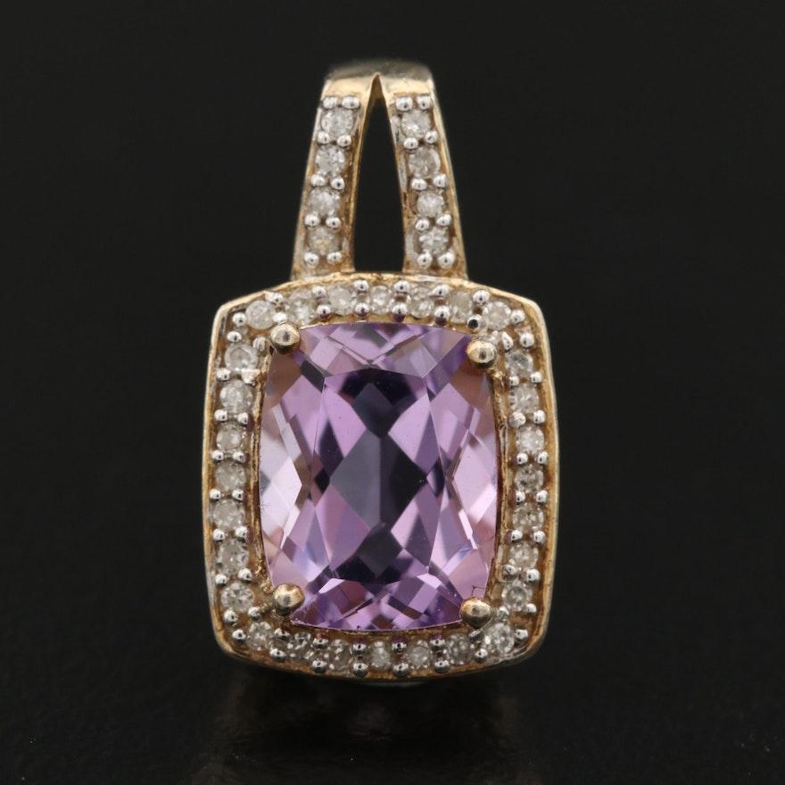 Sterling Amethyst and Diamond Pendant