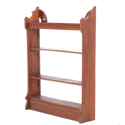 Victorian Walnut Open Bookcase, Late 19th Century