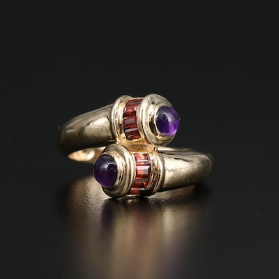 14K Amethyst and Garnet Bypass Ring