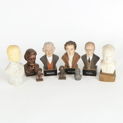 Lincoln, JFK, Jackson and Other Presidential Busts with Roosevelt Cologne Bottle