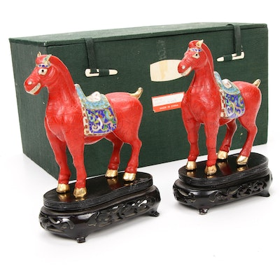 Chinese Cloisonne and Cinnabar Style Horse Figurines on Stands