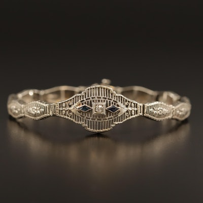 1930s Art Deco 10K Diamond and Sapphire Foliate Link Bracelet