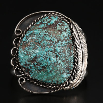 L. Burnside Navajo Diné Sterling Silver Turquoise Feather Cuff