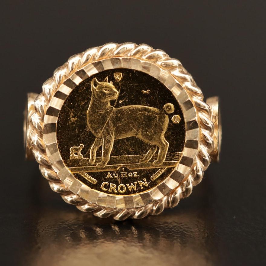 10K Ring with 1994 Isle of Man Gold Japanese Bobtail Cat Bullion Coin