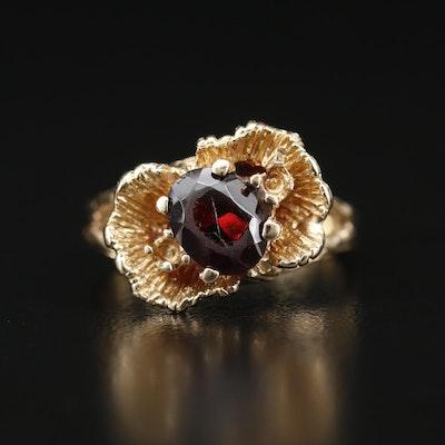 14K Garnet Textured Ring