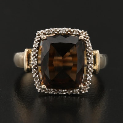 Sterling Smoky Quartz and Diamond Ring