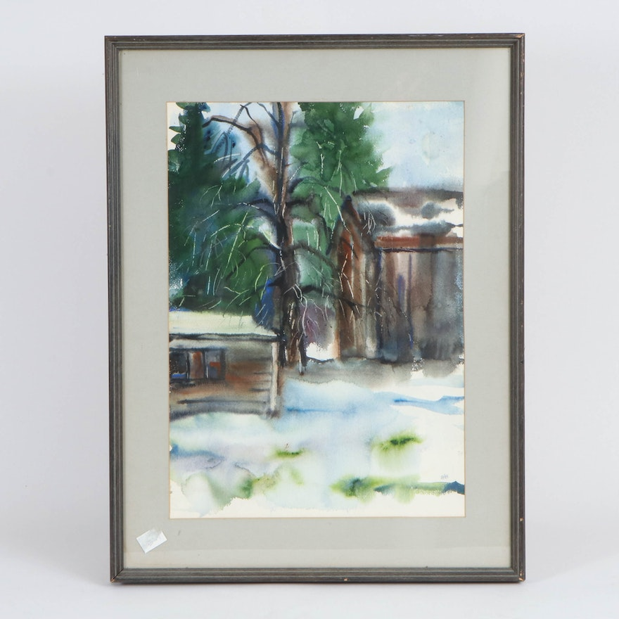 Cabin Landscape Watercolor Painting, Late 20th Century