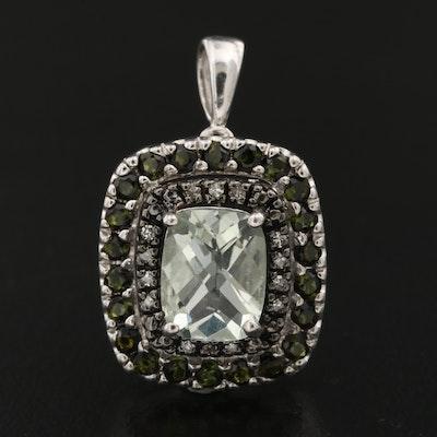 Sterling Prasiolite, Tourmaline and Diamond Pendant
