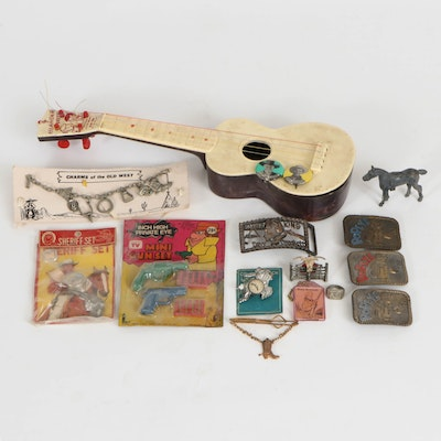 Lee Popeye Belt Buckles and Western Themed Toys and Accessories, Vintage